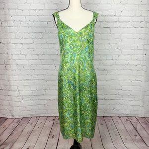SIGRID OLSEN Green Paisley Sheath Slip Dress